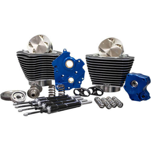 """S&S 124"""" Power Package Kit Gear Drive Oil Cooled for 107"""" Harley M8 - Highlighted Fins and Black Pushrod Tubes"""