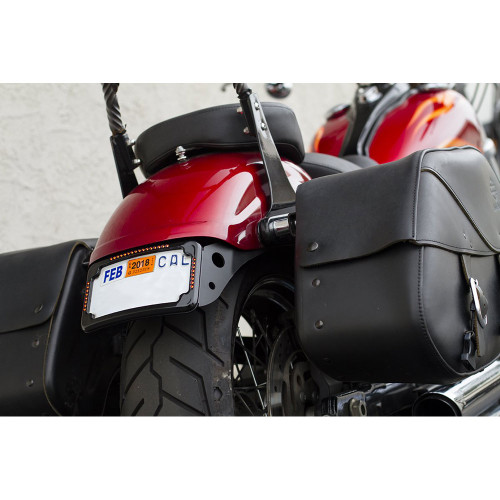 Cycle Visions Curved License Plate Mount with Slick Signal for 2013-2017 Harley Street Bob - Black