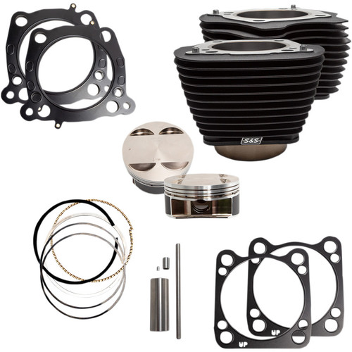 """S&S 124"""" Big Bore Kit for 107"""" M8 Engines - All Black"""