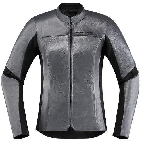 Icon Overlord Women's Leather Jacket - Charcoal