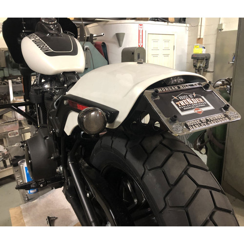 Bung King License Plate Relocation Kit for 2018-Up Harley Fat Bob - Black