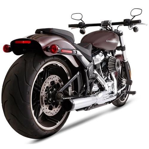 Rinehart 2-into-1 Exhaust for 2018-Up Harley Softail - Chrome/Black