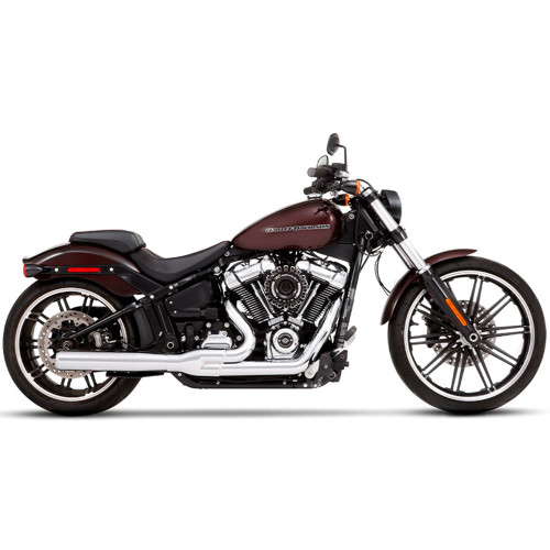 Rinehart 2-into-1 Exhaust for 2018-Up Harley Softail - Chrome/Chrome
