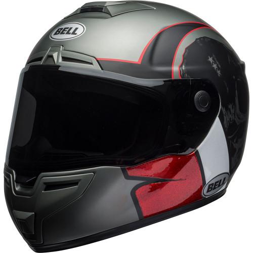Bell SRT Helmet - Hart Luck Charcoal/White/Red Skull