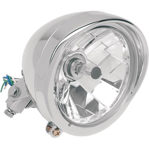 Drag Specialties Chrome Diamond-Style Bottom-Mount Headlight Assembly With Visor - Chrome