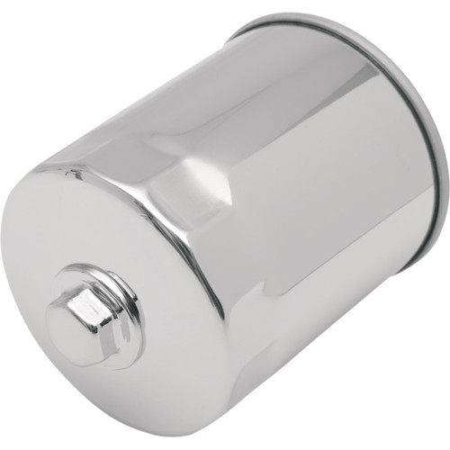 Drag Specialties Spin-On Oil Filter with Nut for Harley Evo and Sportster - Chrome