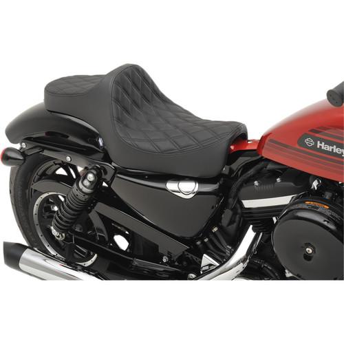 Drag Specialties Predator III Seat for 2004-2019 Harley Sportster - Double Diamond Black
