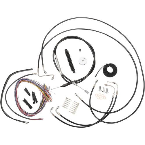 """LA Choppers 12""""-14"""" Cable Kit for 2008-2013 FLHT/FLHR/FLHX w/ ABS - Black Vinyl"""