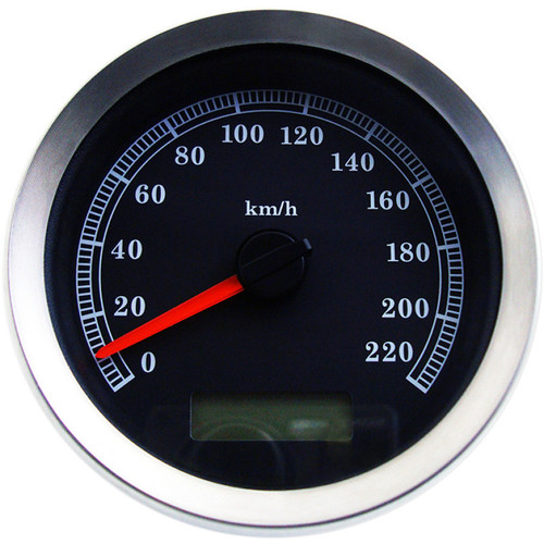"Drag Specialties 4"" Programmable Electronic KM/H Speedometer for Harley - Black Face"