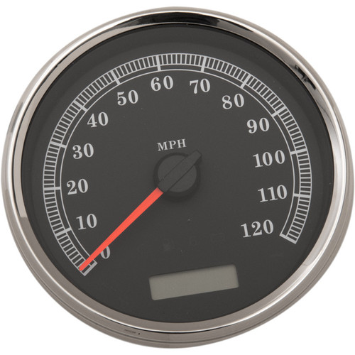 """Drag Specialties 5"""" Programmable Electronic MPH Speedometer for Harley - Black Face"""