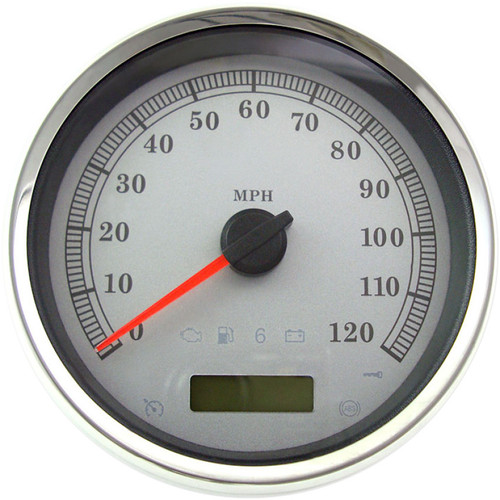 "Drag Specialties 5"" Programmable Electronic MPH Speedometer for Harley - White Face"