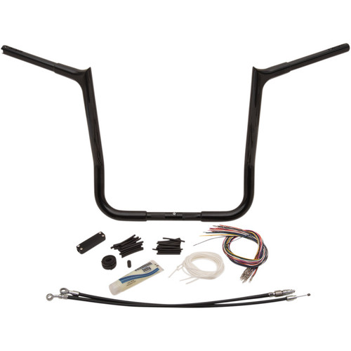 "Fat Baggers 1-1/4"" EZ Install Pointed Top 16"" Handlebar Kit for 2008-2013 Harley Touring - Black"