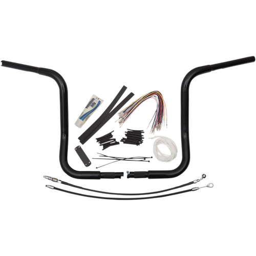 "Fat Baggers 1-1/4"" EZ Install Round Top 14"" Handlebar Kit for 2008-2013 Harley Touring - Black"