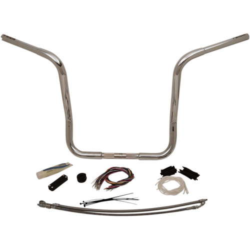 "Fat Baggers 1-1/4"" EZ Install Round Top 16"" Handlebar Kit for 2008-2013 Harley Touring - Chrome"