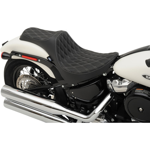 Drag Specialties Predator III Seat for 2018-2019 Harley Softail* - Double Diamond Silver