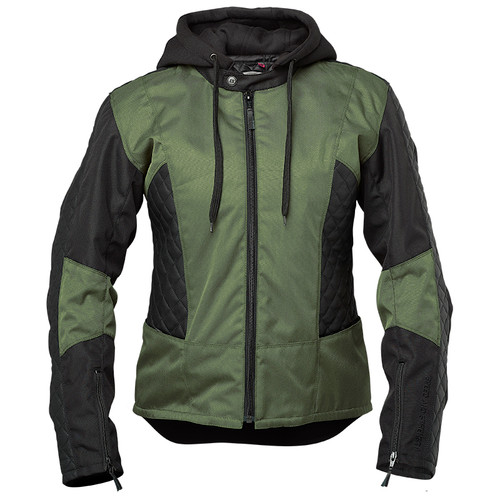 Speed and Strength Minx Women's Leather/Textile Jacket - Olive/Black