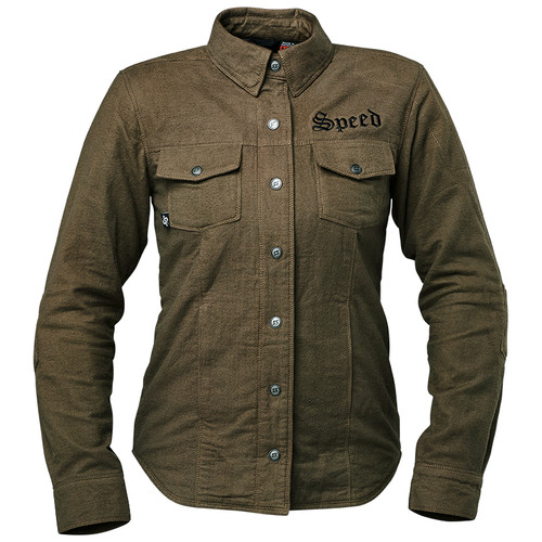 Speed and Strength Brat Women's Armored Moto Shirt - Olive