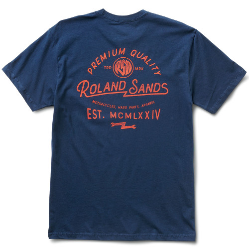 Roland Sands Roman 74 T-Shirt - Navy Blue