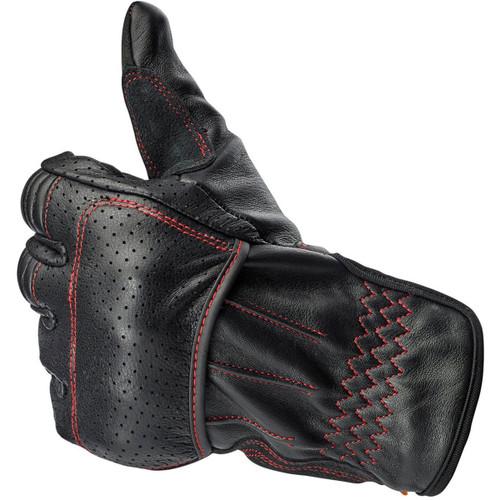Biltwell Borrego CE Leather Gloves - Black/Red