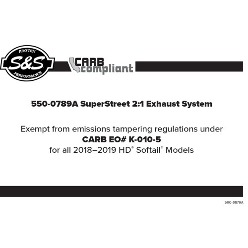 S&S Superstreet 2-1 50 State Legal Exhaust System for 2018-2019 Harley Softail - Black