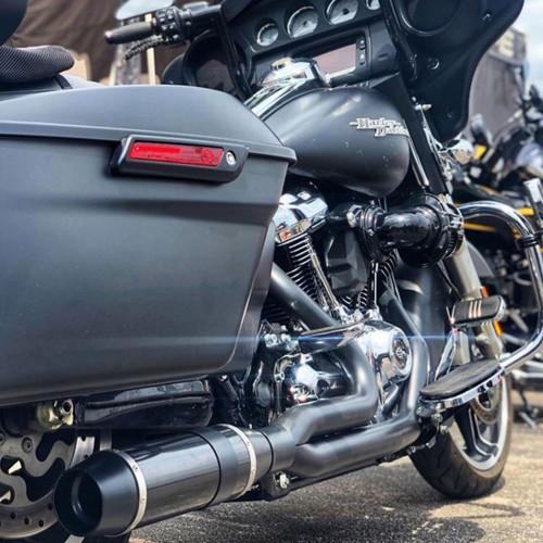D&D Carbon Fiber Bob Cat 2-Into-1 Exhaust for 2017-2019 Harley Touring - Black