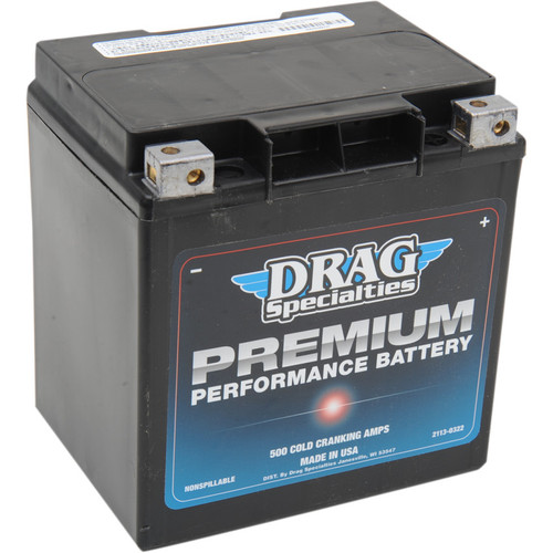 Drag Specialties Premium Performance Battery for Harley - Repl. OEM #66010-97A/C/D
