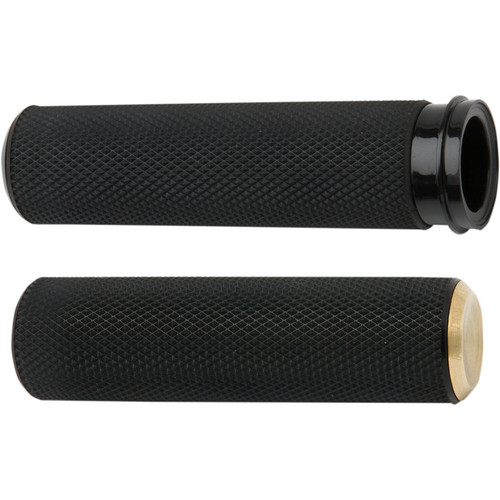 Arlen Ness Knurled Fusion Grips for Harley Electronic Throttle - Brass