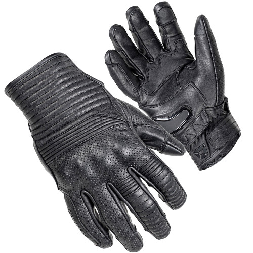 Cortech Bully Ventilated Short Cuff Leather Gloves - Black