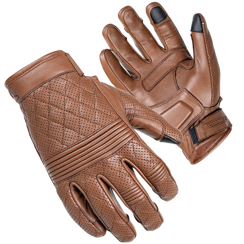 Cortech Scrapper Diamond Quilted Short Cuff Leather Gloves - Brown