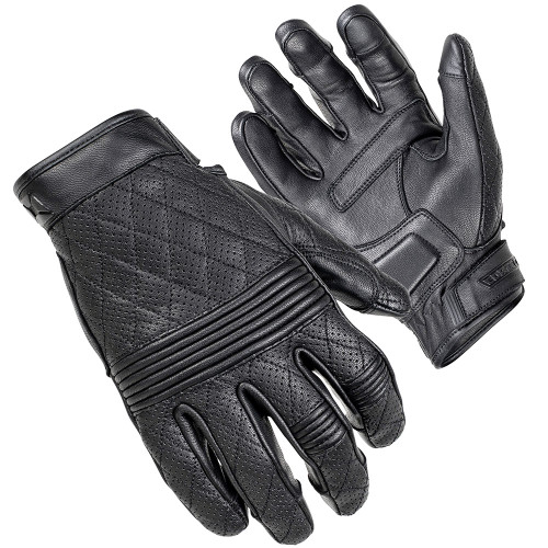 Cortech Scrapper Diamond Quilted Short Cuff Leather Gloves - Black