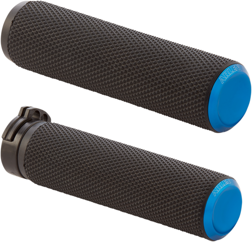 Arlen Ness Knurled Fusion Grips for Harley Dual Cable - Blue