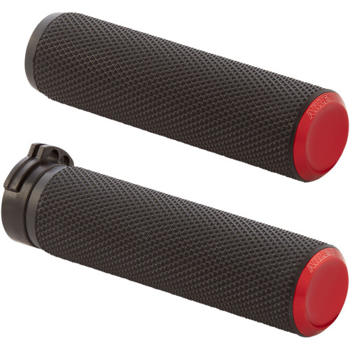 Arlen Ness Knurled Fusion Grips for Harley Dual Cable - Red