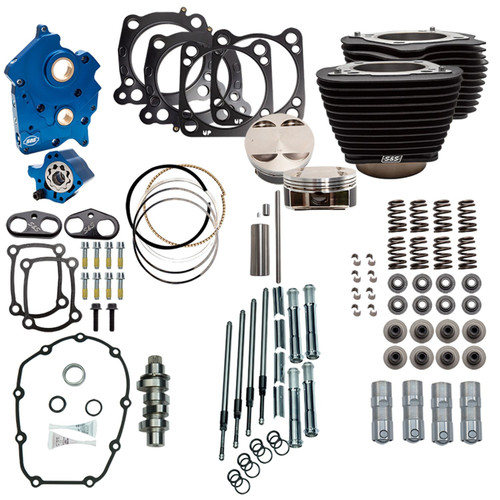"S&S 128"" Power Pack Kit Chain Drive Oil Cooled for 114"" Harley M8 - Wrinkle Black and Chrome Pushrod Tubes"