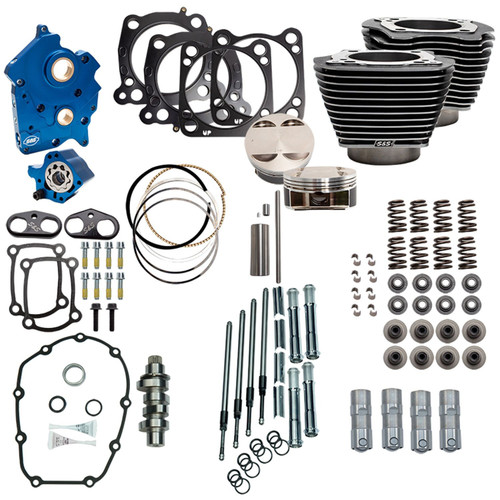 """S&S 128"""" Power Pack Kit Chain Drive Oil Cooled for 117"""" Harley M8 - Granite and Chrome Pushrod Tubes"""