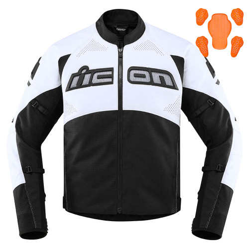 Icon Men's Contra 2 Perforated Leather Jacket - White