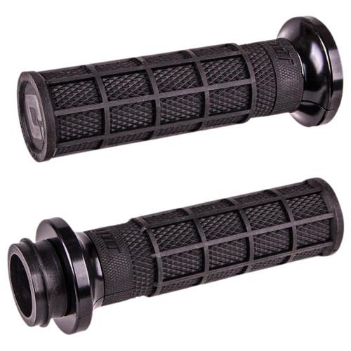 ODI Hart Luck Full Waffle Lock-On Grips for Harley Electronic Throttle - Black/Black