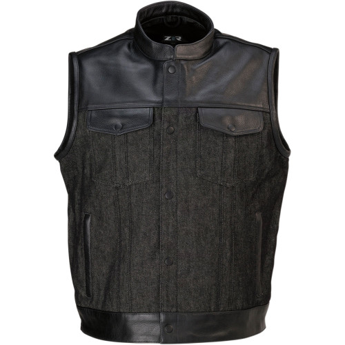 Z1R Linchpin Black Leather/Denim Vest