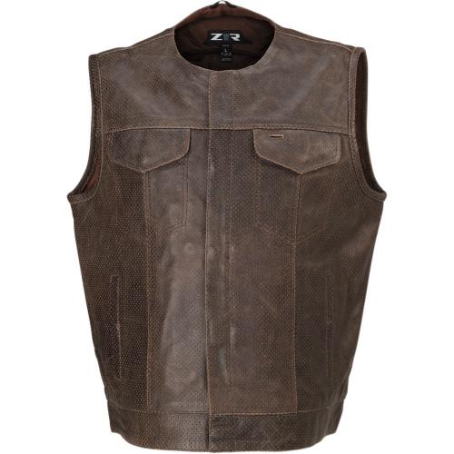 Z1R Ganja Brown Perforated Leather Vest
