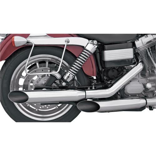 """Khrome Werks Chrome 3"""" HP-Plus Slip-On Mufflers for 1991-2005 Harley Dyna - Slash Cut"""