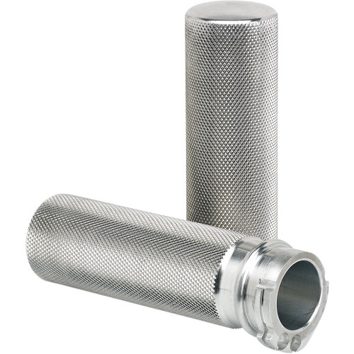 Joker Machine Clear Knurled Hand Grips for Harley Dual Cable