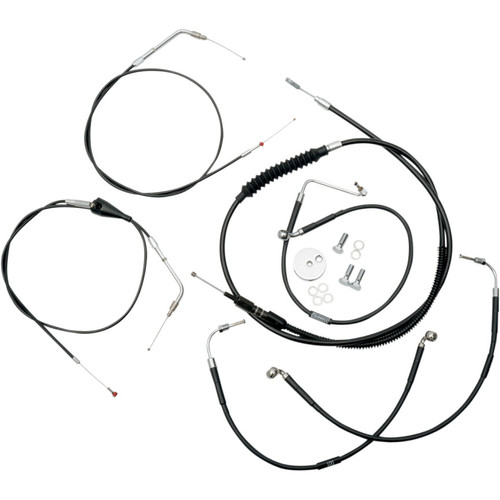 """LA Choppers Black Vinyl/Stainless  12""""-14"""" Cable Kit for 1996-2007 Harley"""