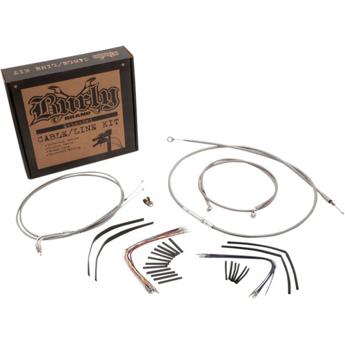 Burly Braided Stainless Steel Cable and Brake Line Kit for Softail