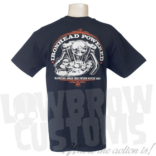Lowbrow Customs Ironhead Powered Sportster T-Shirt - Black