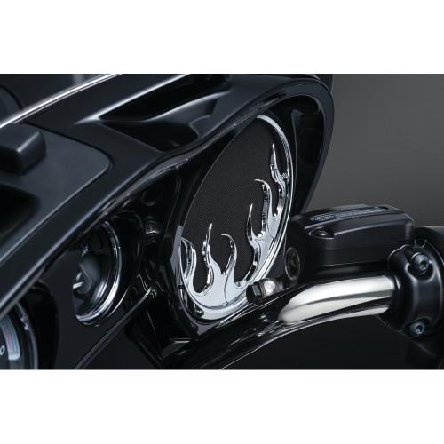 Kuryakyn Flame Speaker Grills for 2014-2016 Harley Touring
