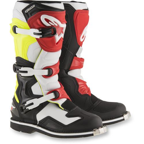 Alpinestars Tech 1 Boots - Black/White/Yellow/Red