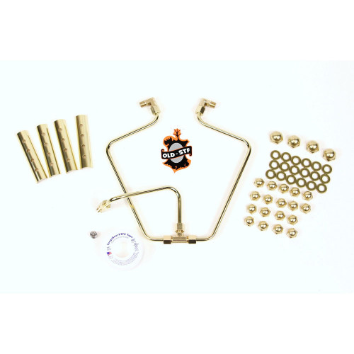 Old-Stf Engine Hardware Oil Lines Kit for 1966-1984 Harley Shovelhead - Brass