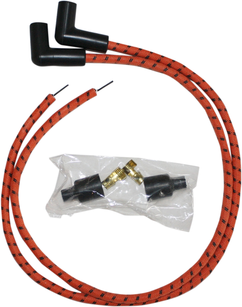 Sumax 8mm Universal Spark Plug Wire Kit for Harley - Orange with Black Tracer