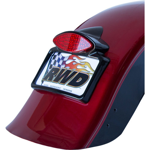 Russ Wernimont LED Run/Turn/Brake Tail Light with License Plate Frame for Harley - Gloss Black