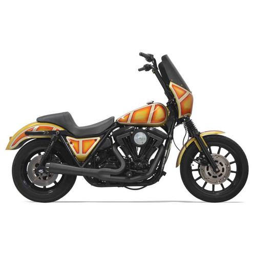 Bassani Short Road Rage Exhaust for Harley FXR - Black