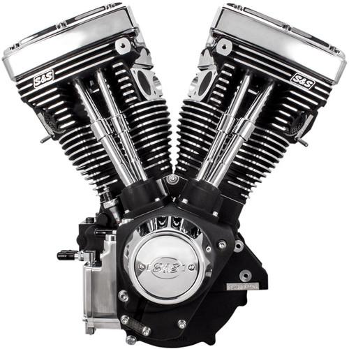 S&S V111 Long Block Engine for 1984-1999 Harley Big Twin - Wrinkle Black